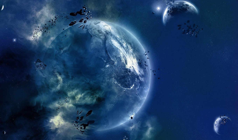 cosmic, landscape, планеты, cosmos, голубыми, которые, массивными, вращаются, космос,
