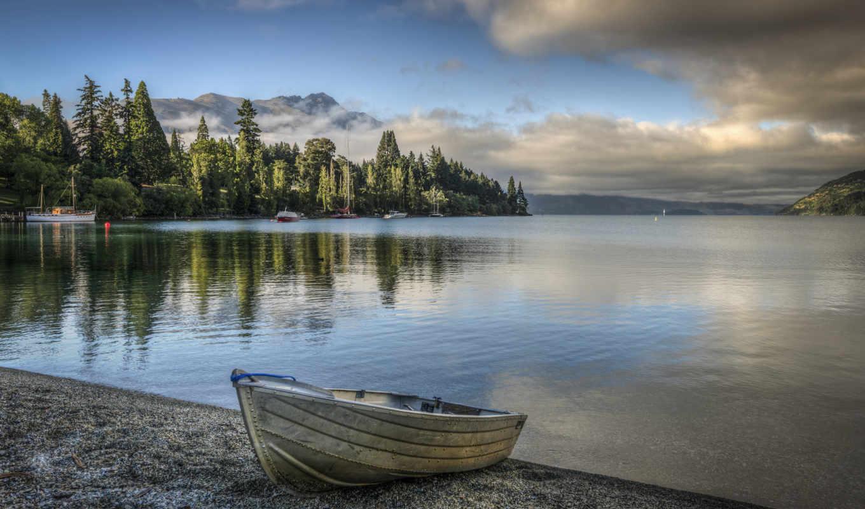 лодка, озеро, природа, марта,