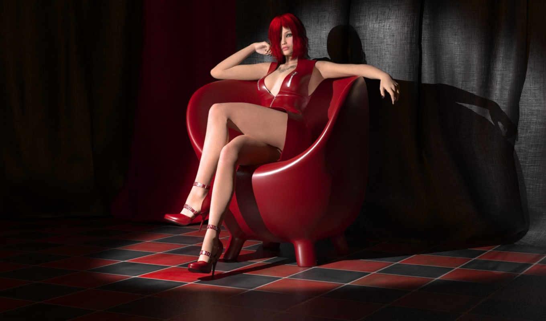 девушка, rendering, платье, красное, тату, art, волосы,