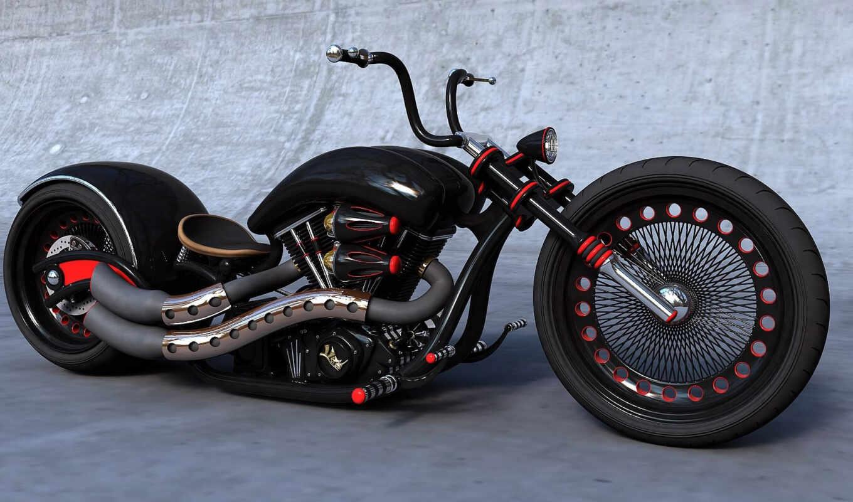 мотоциклы, chopper, чёрный,