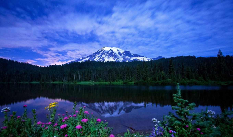 природа, landscape, небо, горы, трава, весна, цветы, oblaka, озеро,