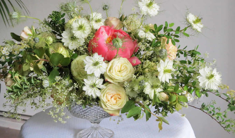 цветы, букет, oir, ваза, композиция, пион, nigella
