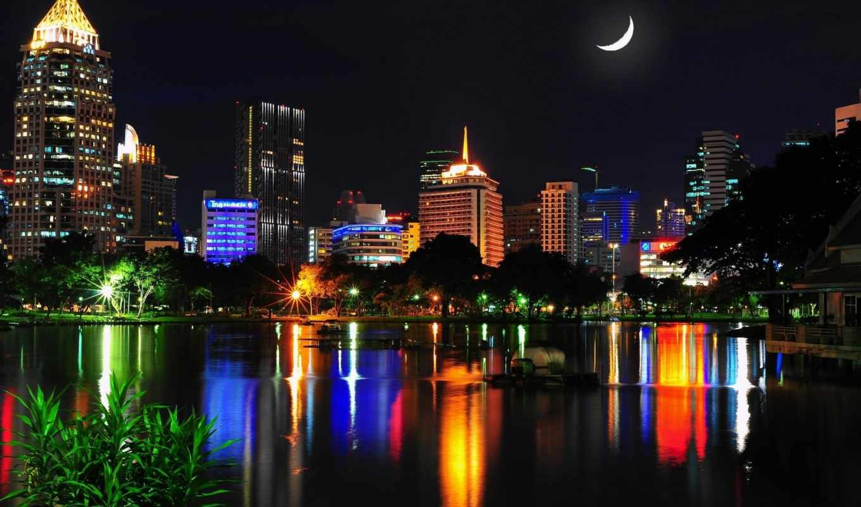 bangkok, ночь, таиланд, огни, город, дома,