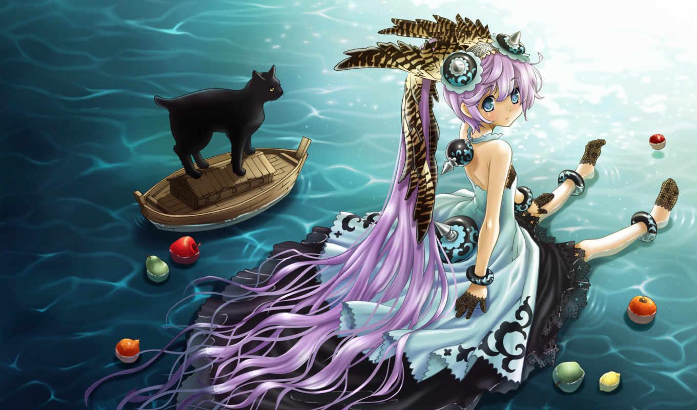 anime, long, cat, hair, âþãàéùå, win, with, free, boat, water, similar,
