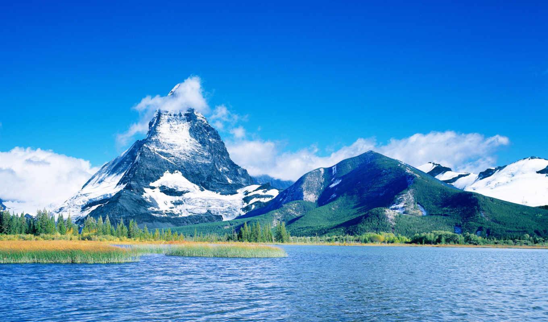 горы, небо, озеро, water, облака, красавица, разделе, деревья, природа, марта, зелёный,