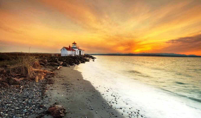 закат, берег, море, маяк, нов, mix, большие, дек, hotel, lighthouse,