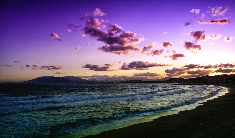 море, закат, пляж, волны, oblaka,