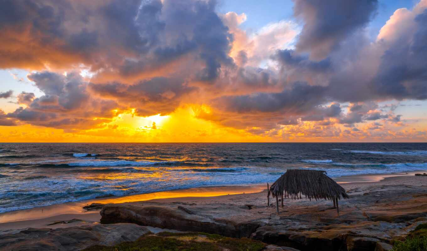 пляж, небо, утро, red, cover, море