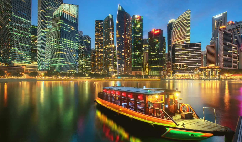 singapore, ночь, bay, город, марина, build, home, небоскрёб, building