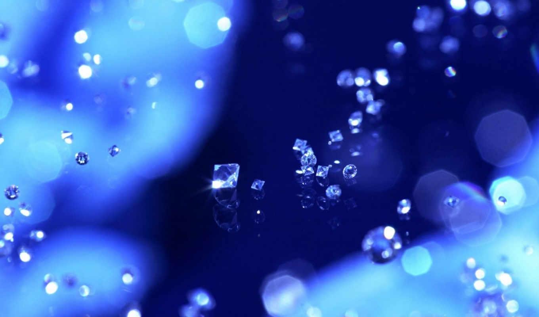 стекло, бриллиант, голубой, макро