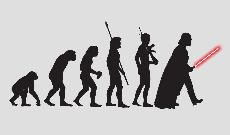 эволюция, человек, обезьяна, вейдер, дарт, звёздные войны, силуэт