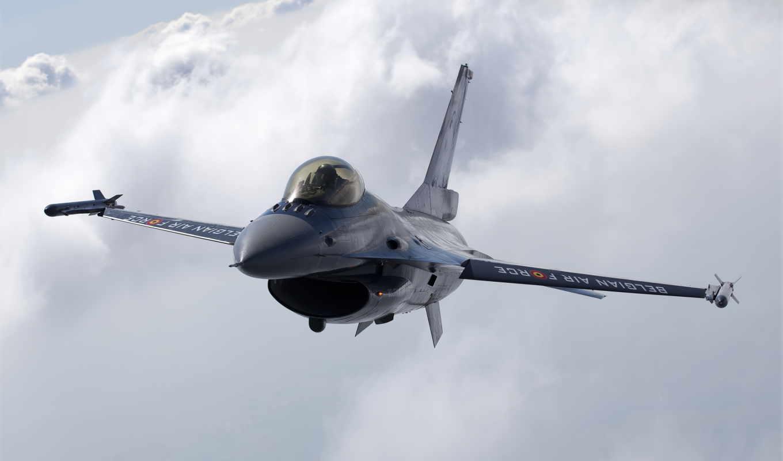 многоцелевой, полет, истребитель, fighting, высота, belgian, облака, falcon, небо,