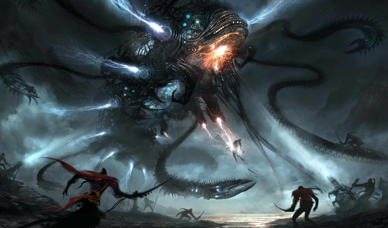 art, фантастика, monster, that, dragon, science, научная, battle, mech, madness, creature,