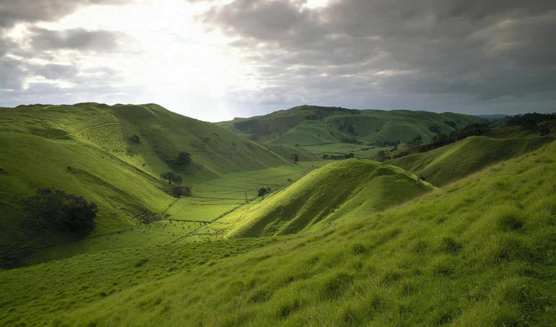 mountains, green, холмы, небо, трава, луг, поле, widescreen, desktop, nature, free, hills, new, images,