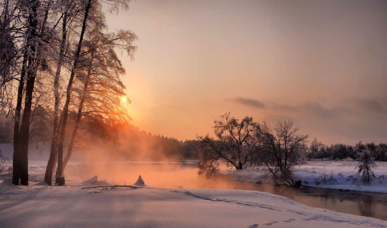 закат, деревья, вечер, декабрь, лес, зима, небо, малаховка, солнце, река,