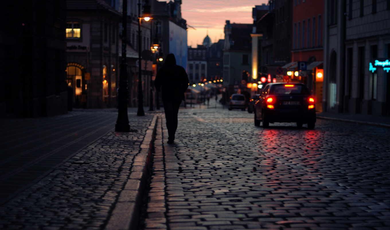 город, ночь, улица, alone, картинку,
