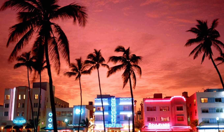 пляж, miami, hotel, isles, sunny,