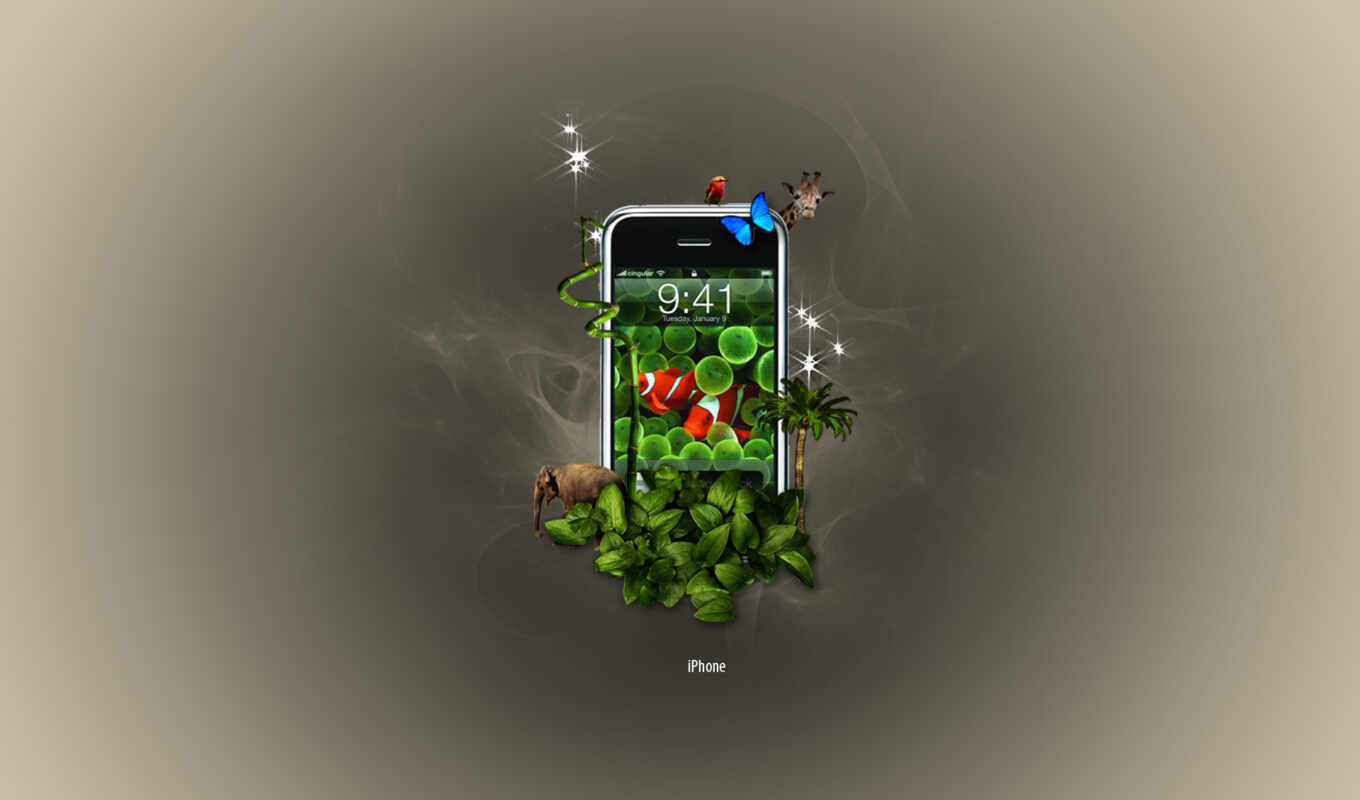 iphone, jungle, apple,