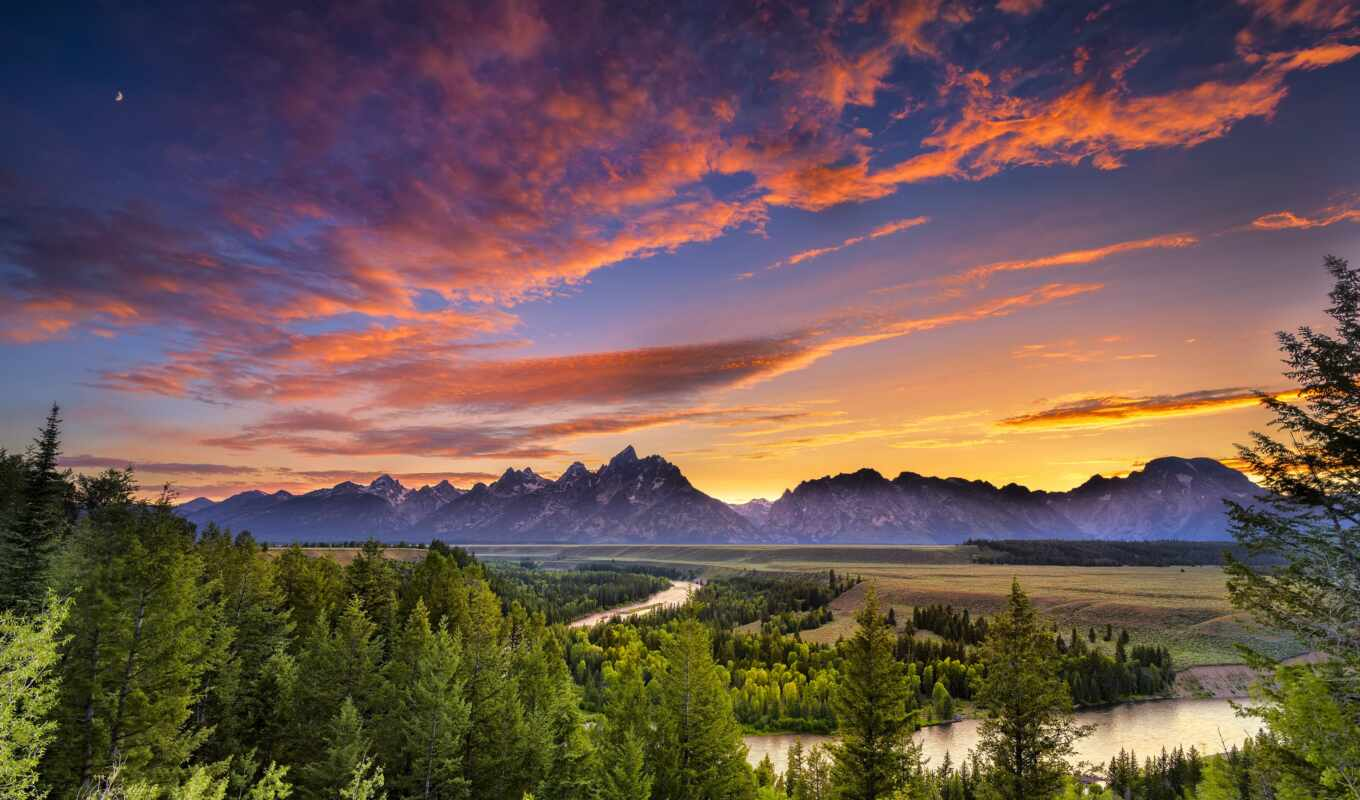 grand, teton, national, park, гора, wyoming, гранд, река, лес
