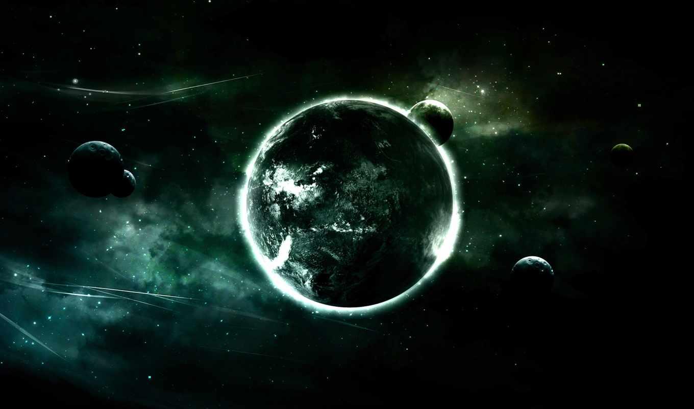 планета, луны, черный, космос, картинка, звезды, картинку,