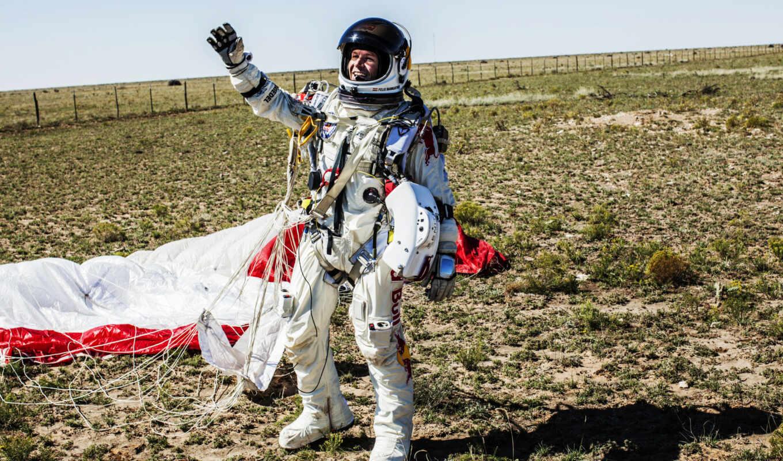 red, baumgartner, felix, bull, stratos, полет, космос, salto, спортсмен, приземление,