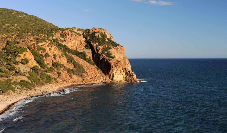 море, берег, залив, горы, природа, вода, скалы, картинка,