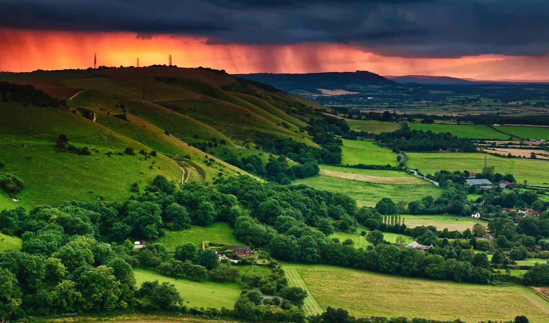 закат, зелень, облака, пейзаж, небо, деревья, тучи, дома, долина, поля, downs, красивые, south,