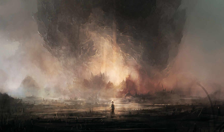 человек, фигура, туман, скала, пещера, камень, гора, арт,