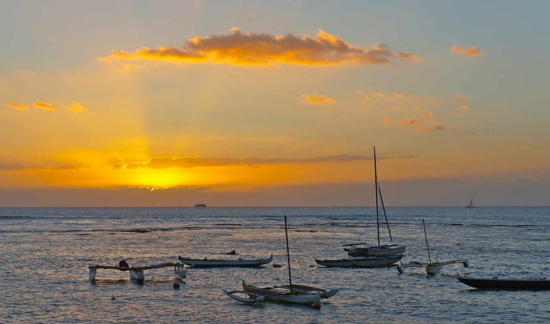 закат, лодка, desktop, море, кб, поле, катера, корабли, горизонт,