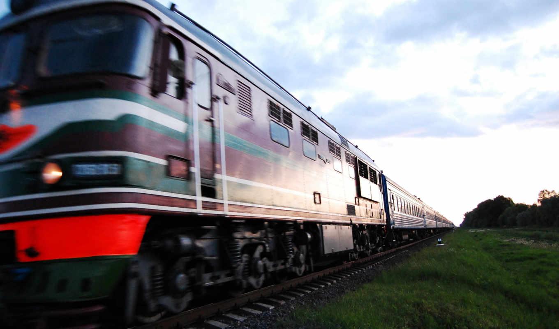 поезд, поезда, высоком,