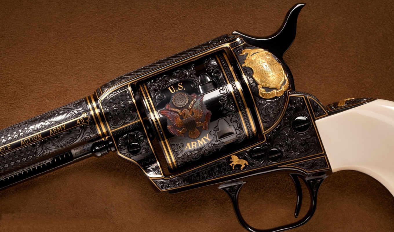 ,револьвер, ретро, баробан, гравировка,