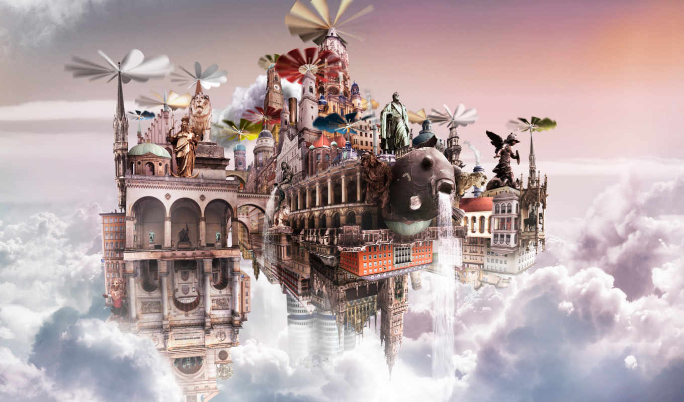 castle, flying, high, background, definition, cloud, city,