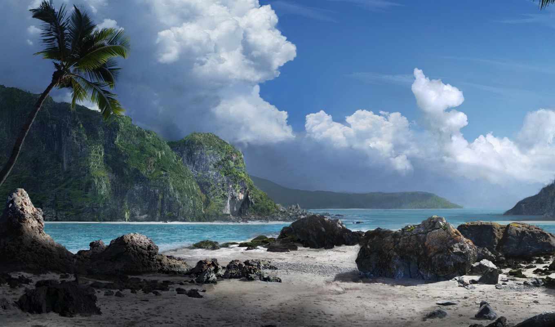море, горы, palm, oblaka, water, камни, пляж,