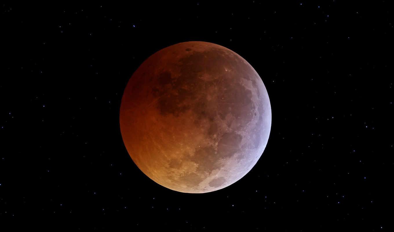 луна, космос, затмение, звезды,