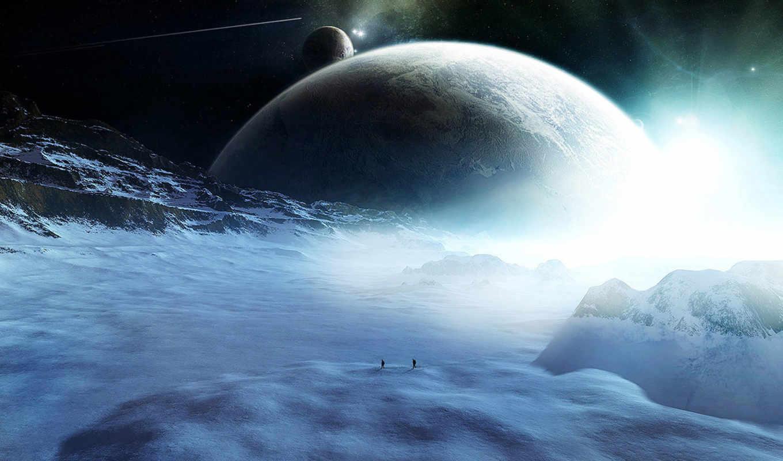 планеты, космос, фигуры, звезды, ледяная, путники, комета, снег,