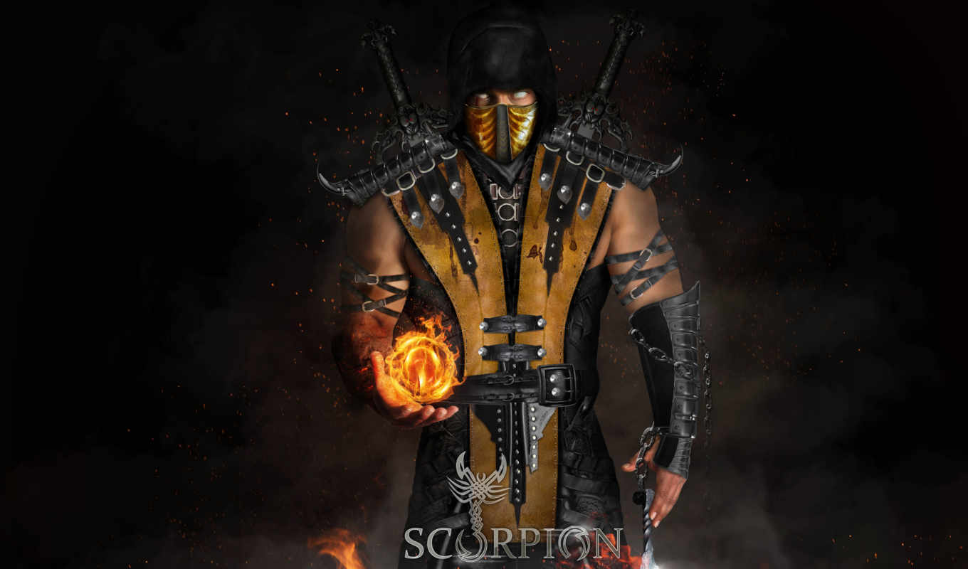 mortal, kombat, scorpion, котал, desktop,