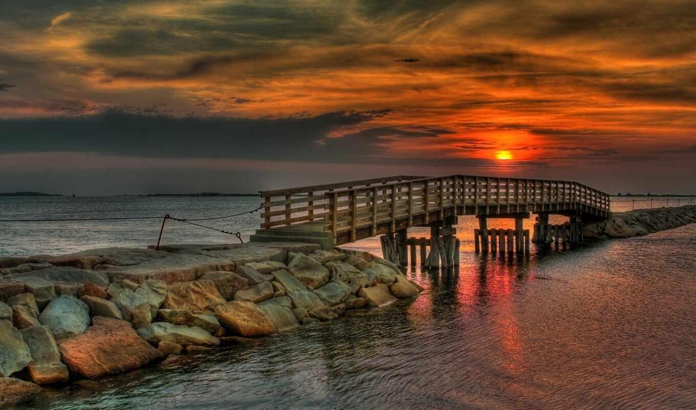природа, море, обои, залив, небо, закат, тучи, мос