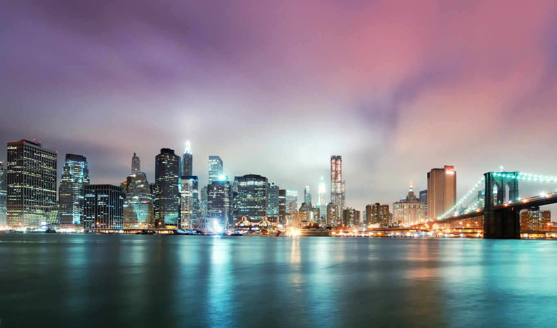 бруклин, мост, нью, york, new, сша, города, город, manhattan,