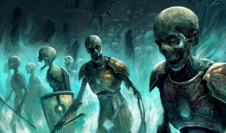 нежить, art, нежить, скелеты, армия, черепа, souls, dark,