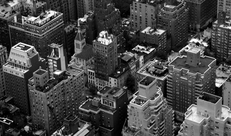 чёрно, белый, манхэттен, architecture,, landscape,,