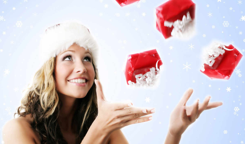 девушка, новый, girls, год, праздник, christmas, santa, картинка, photos, подарки, жонглирует,