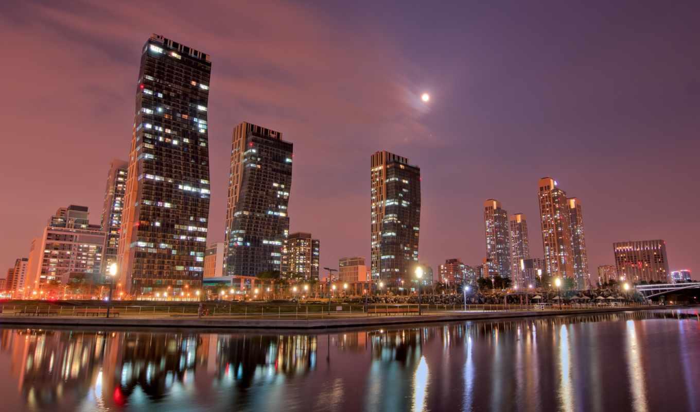 луна, ночь, город, небо, дома, картинка, картинку,