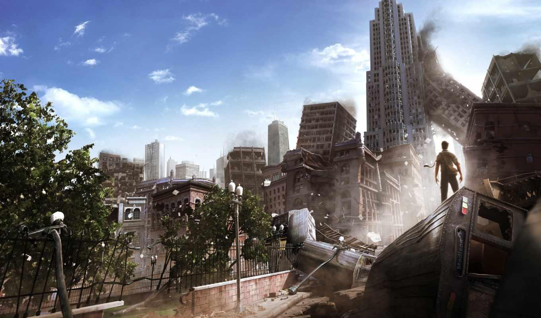 am, alive, руины, апокалипсис, разрушения, город, мужик,