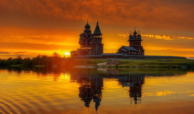 ,природа, церковь, закат, отражение,река,
