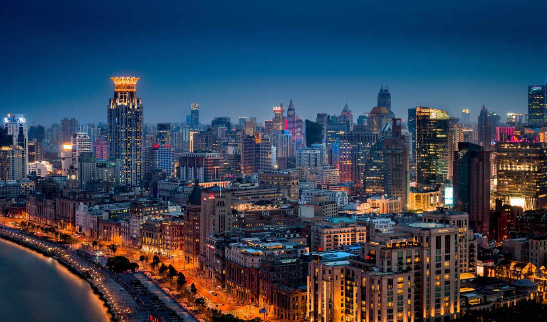 china, shanghai, город, ночь, хуанпу, huangpu,