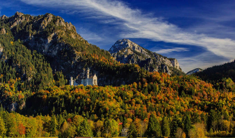 нойшванштайн, бавария, castle, нойшванштайн, горы, германия, лес,