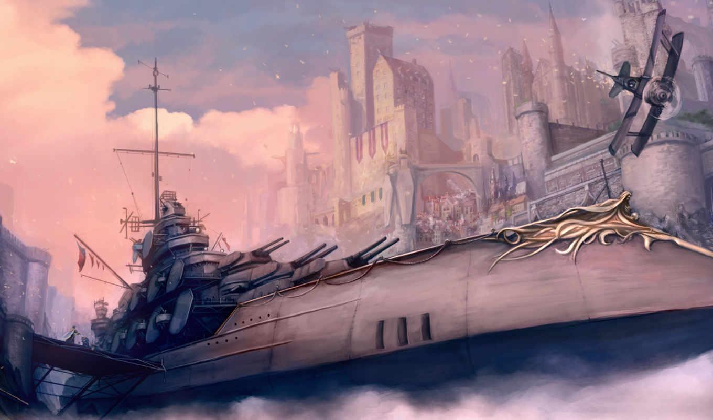 fantasy, корабль, коллекция, военный, самолеты, самолёт, города, стен,
