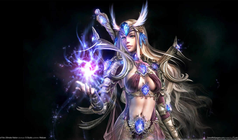 fantasy, девушка, game, волосы, воин, магия, свечение,
