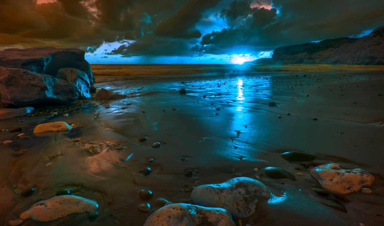 закат, пляж, песок, море, пляже, берег, небо, солнца, закате, камни,