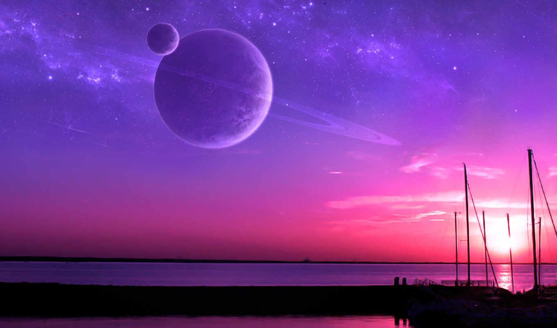 sunset, airena, stars, планеты, рамка, звездное, planets, небо, nature, landscapes, background, горизонт, планета, автор, картинка,